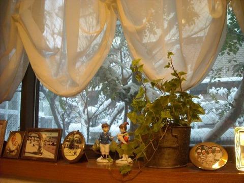 窓から覗く雪景色