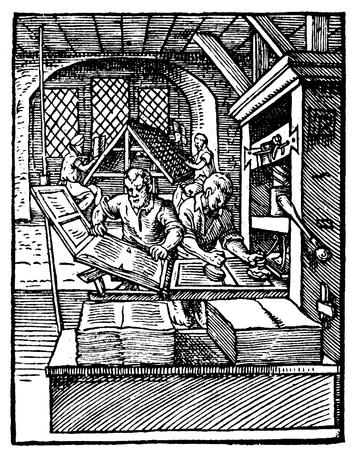 1568年に描かれた印刷所の様子