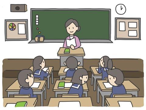 先生と生徒のいる教室
