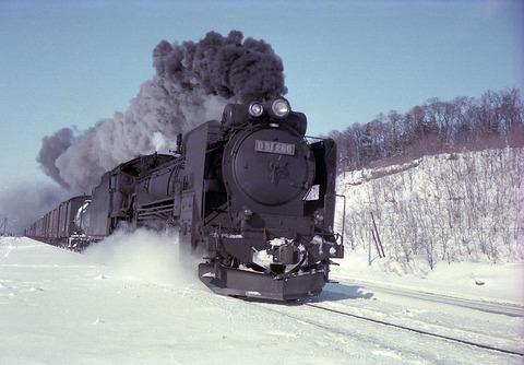 雪の中を走る蒸気機関車D51