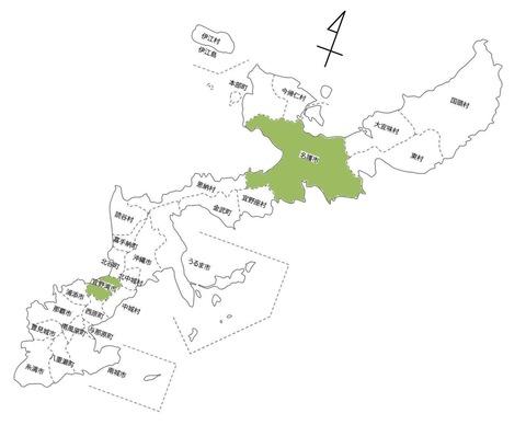 沖縄の白地図-宜野湾市と名護市