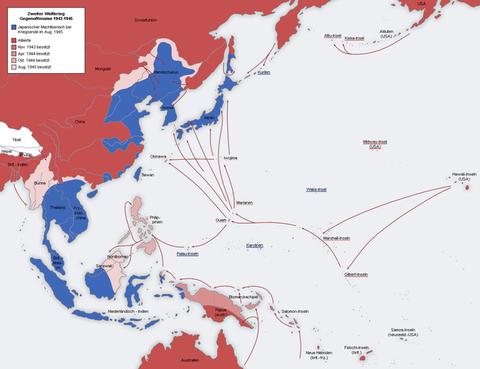太平洋上の拠点を失う日本(1943年から1945年)