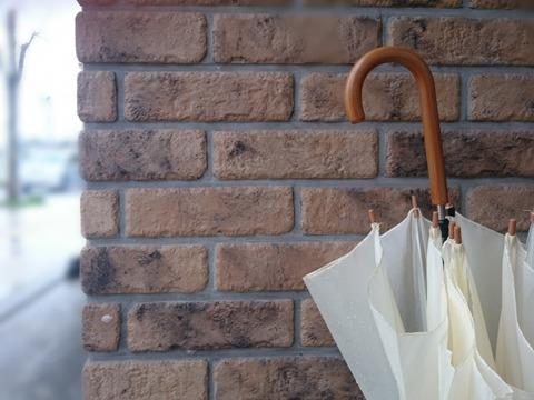 傘とレンガの壁