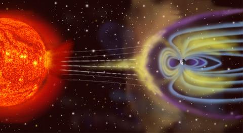 太陽風と地球磁気圏との相互作用を描いた図