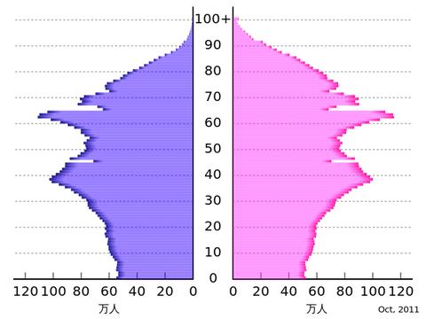 日本の人口ピラミッド(2010年)