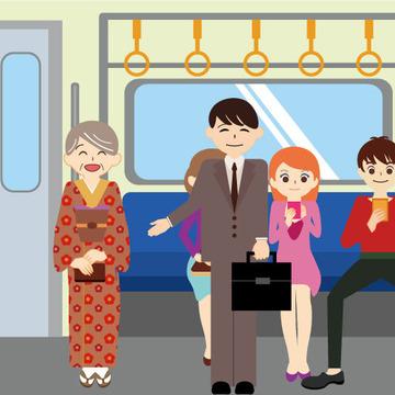 電車(席を譲るところ)