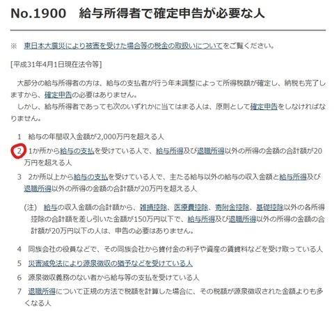 国税庁No.1900給与所得者で確定申告が必要な人