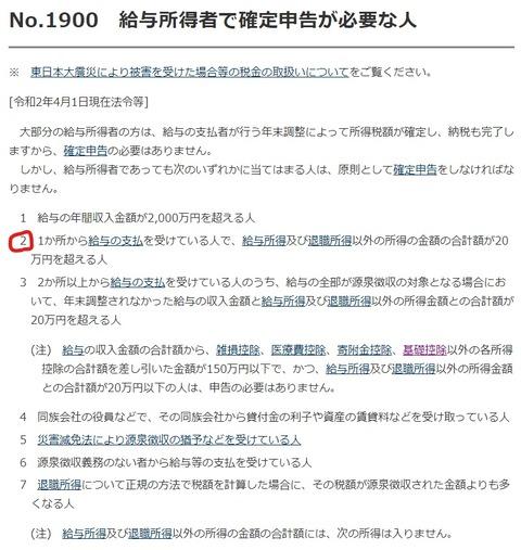 国税庁「No.1900 給与所得者で確定申告が必要な人」