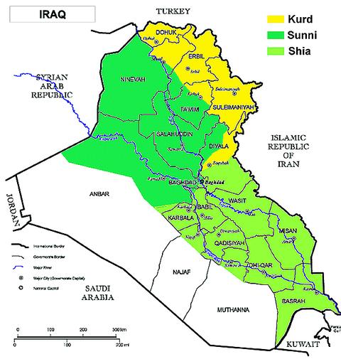 Iraq Shia Sunni map