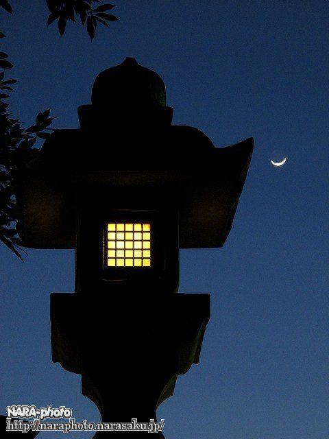 春日大社・石灯籠と月