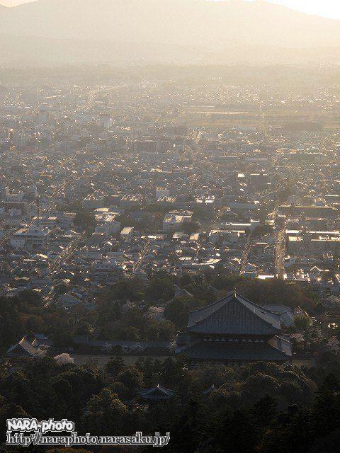 東大寺大仏殿と奈良市街地