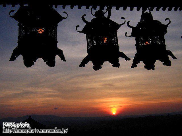 燈籠と夕焼け1
