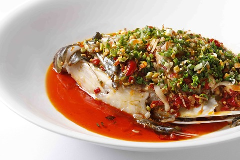 Steamed Grouper Fish Head with Fermented Chilli and Salted Lard