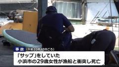 マリンスポーツ「サップ」中の女性が漁船と衝突し死亡 福井県高浜町