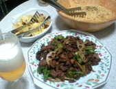 牛肉料理&ペペロン&キャベツサラダ