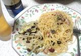 タコと黒オリーブのペペロンチーノ