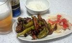 豚肉とデカししとうと茄子のゴマ辛味噌炒め