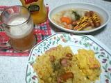 ジャンバラヤ風カレー炊き込みとウインナーとキャベツ煮込み