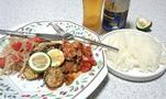 塩サバのパン粉焼きとトマトソース2種とかぼす