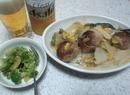 肉団子の白菜煮丼