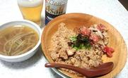 たこ飯とネギもやしスープ