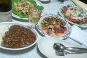 3種サラダとシーフードビーンズカレー