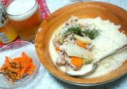 豚肉クリーム煮とチーズご飯