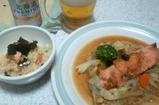 鮭チャンチャン焼き風と鮭の炊き込み