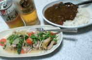 2日目のカレーと豚肉とキノコと野菜の蒸し焼き