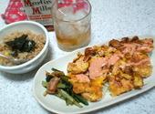 鶏ピカタと炊き込みとバーボン