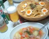 いつもと違うカルボナーラとスープ