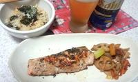 鮭のハーブ焼きとレンコンとニンジンとネギの素焼き