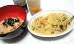 豚肉と野菜のカレーミルク煮とサンマの炊き込みご飯