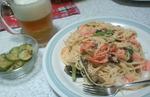 鮭と小松菜と茄子のパスタ