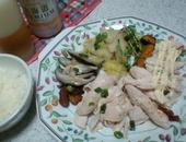 蒸し鶏と蒸し野菜