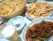 カルボナーラとトマト煮