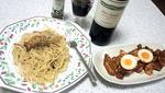 鶏肉とカボチャのマスタードマヨソテーとジェノべーゾソースのパスタ