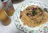 タコとブロッコリーとトマトとマイタケのパスタ