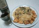 キノコスパゲッティーとタラフリッター
