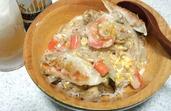 ホタテとカニかまとモヤシの天津丼