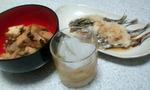 煮物丼とシシャモとバランタイン