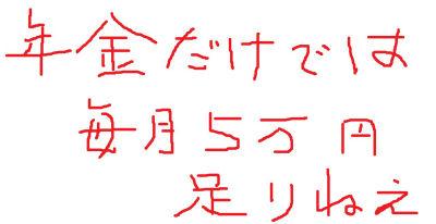 年金だけでは 毎月5万円 足りねえ