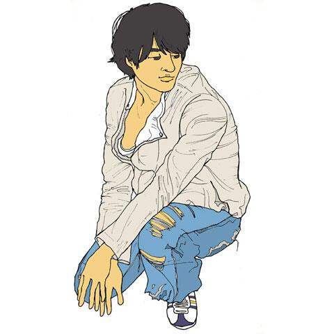 ダメージジーンズを履いた男性