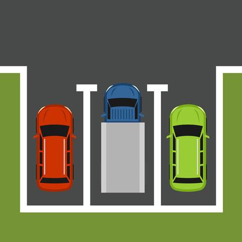 駐車場に停められた自動車
