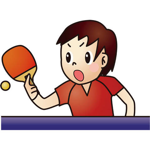 試合中の女子卓球選手