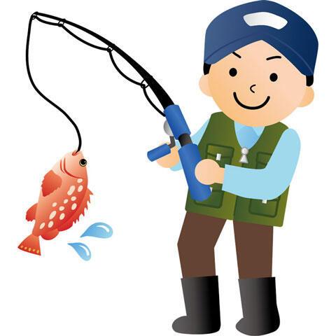 魚を釣る釣り人の男性