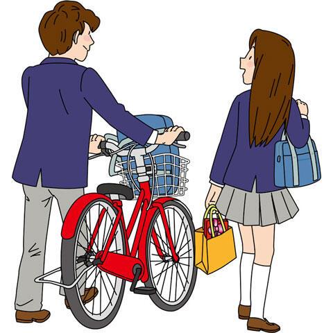 一緒に下校する高校生のカップル