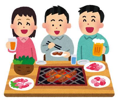 焼き肉を食べている人達