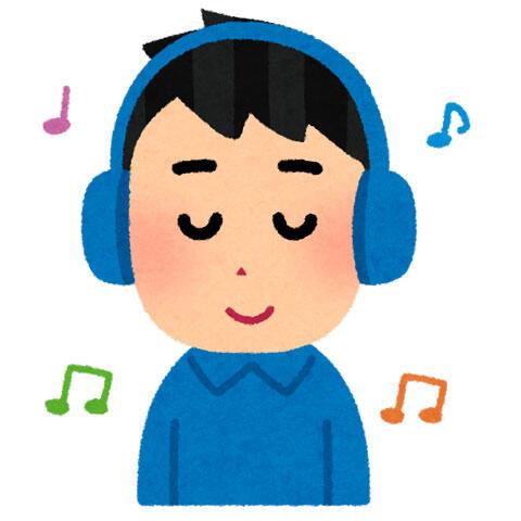 ヘッドホンで音楽を聞く人