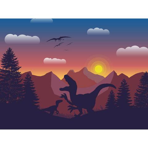 恐竜たちのシルエット